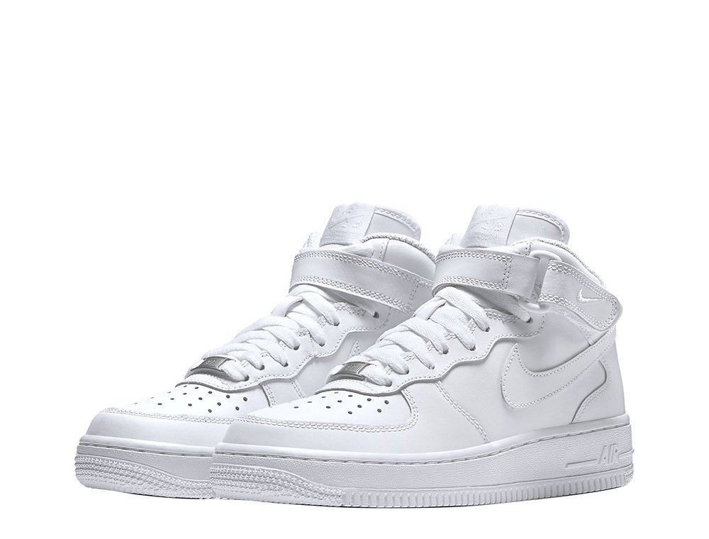 "nike air force 1 mid (gs) ""all white"""
