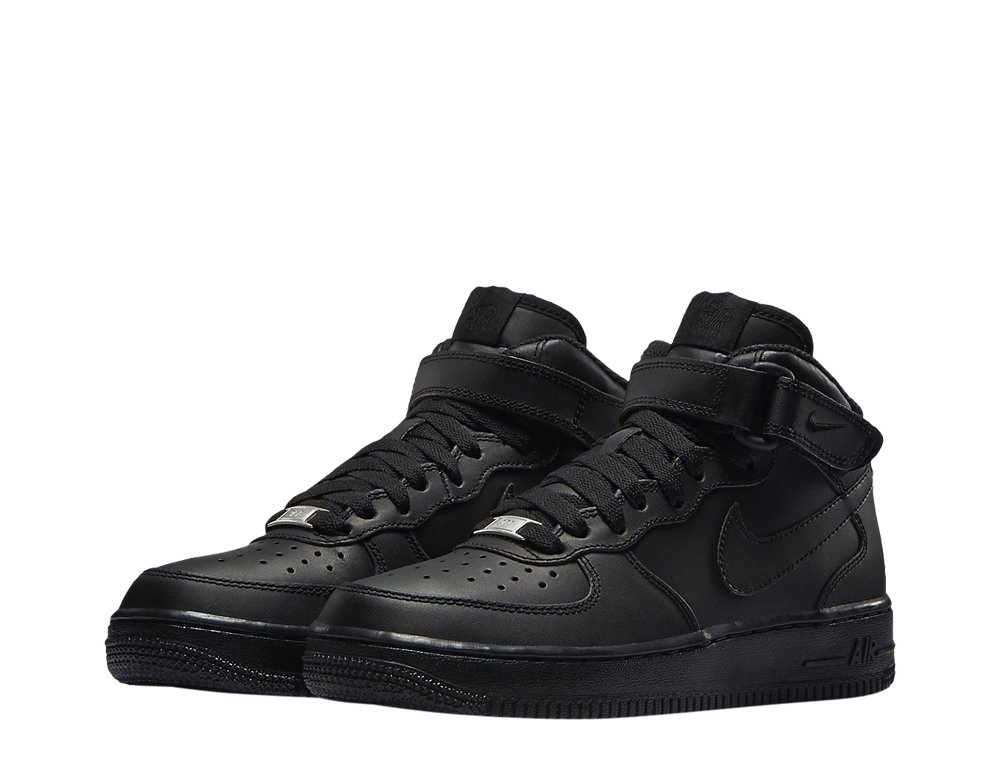 "nike air force 1 mid (gs) ""all black"" (314195-004)"