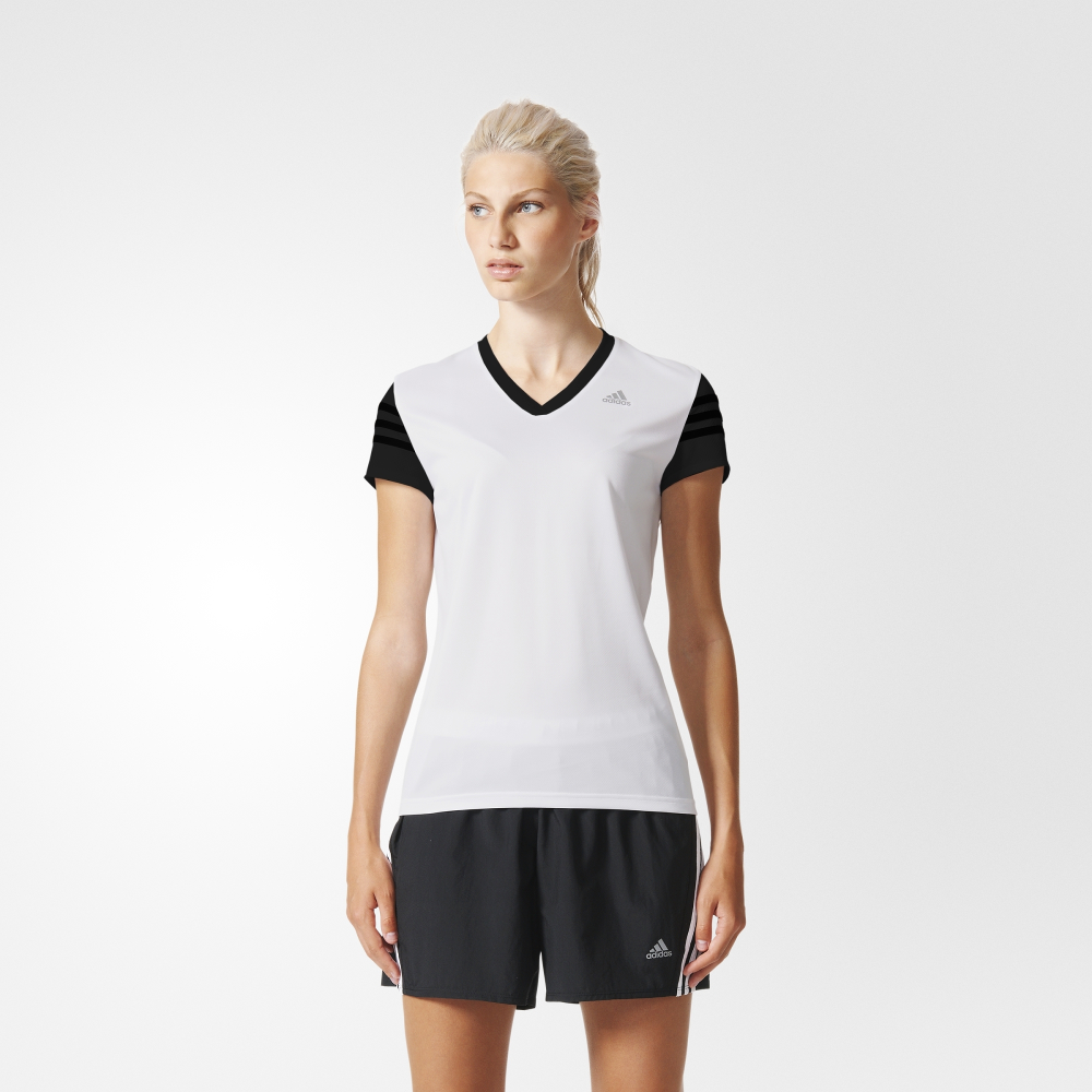 adidas response cap short sleeve tee white black