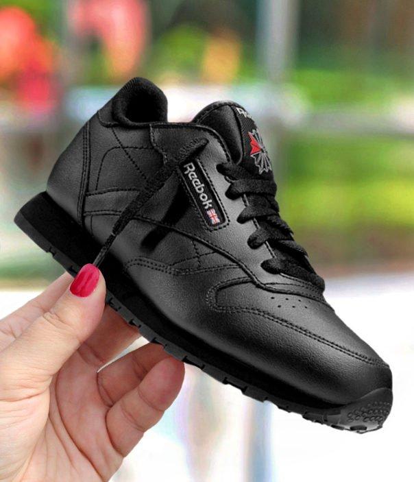 """reebok classic leather """"black"""" junior czarne"""