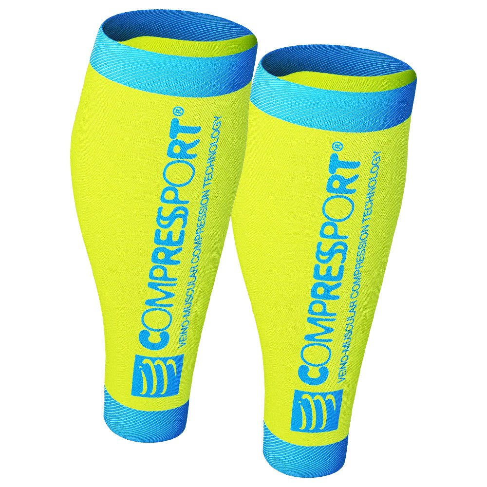 compressport calf r2 v2 safety yellow