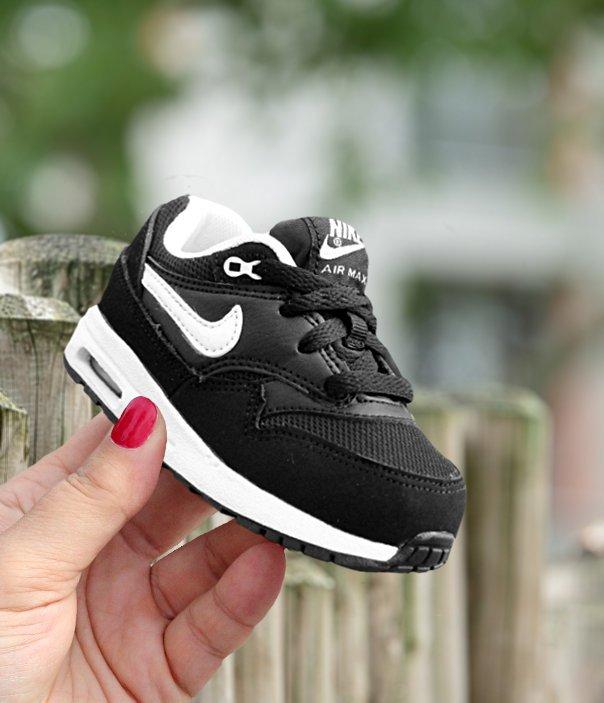 buty do biegania dobry szczegółowe obrazy Nike Air Max 1 (TD) czarno-białe