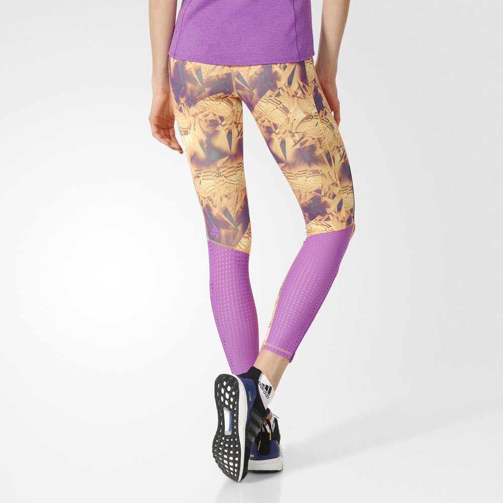 adidas supernova all-over print long tights w fioletowo-Żółte