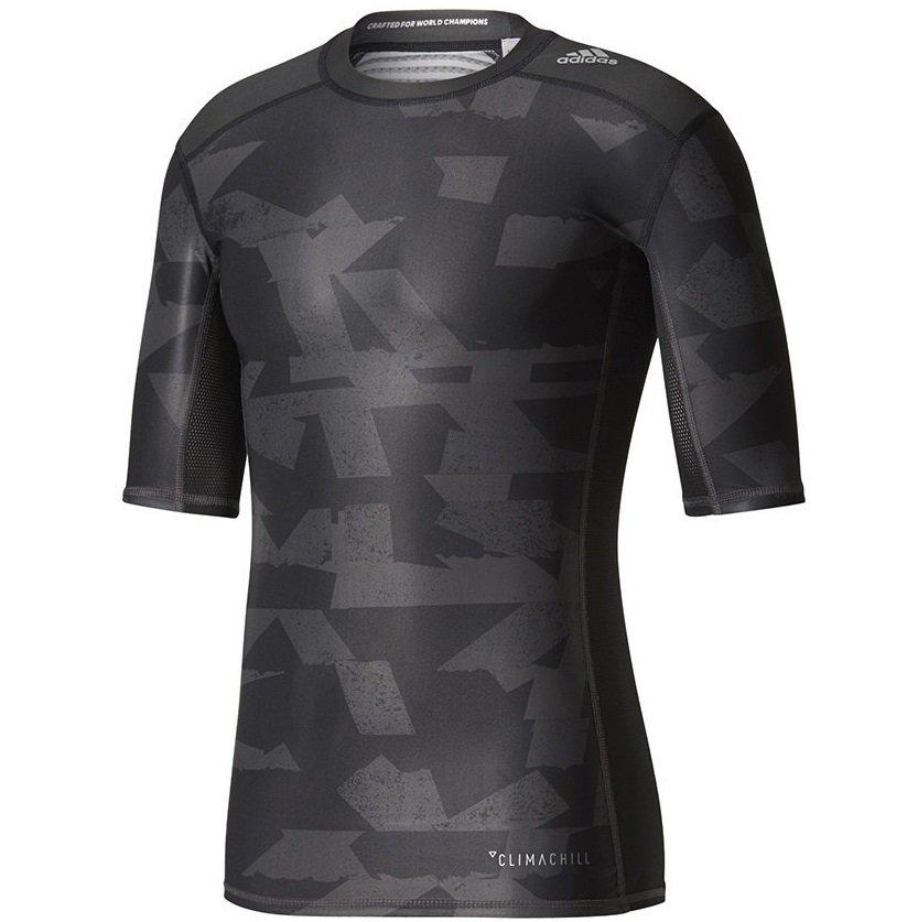 adidas techfit chill print tee m szaro-czarna