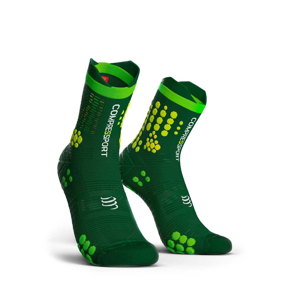 skarpety compressport racing socks v3.0 trail gree/yellow