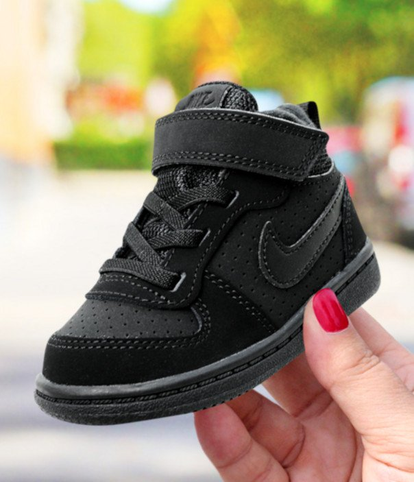 nike court borough mid (tdv) czarne