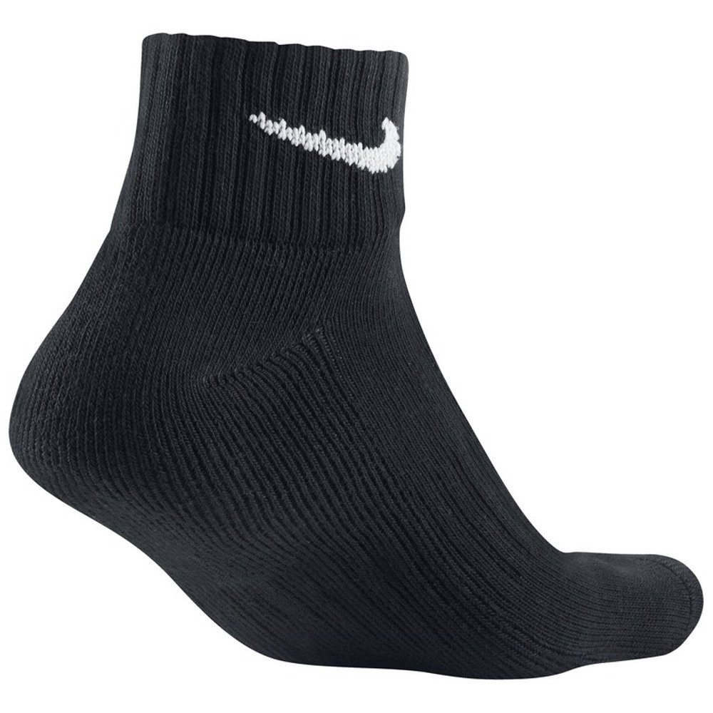 nike 3 pack value quarter socks black