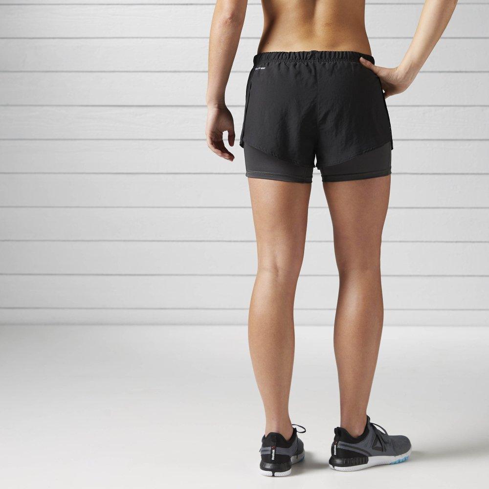 reebok running 2 in 1 shorts w czarne