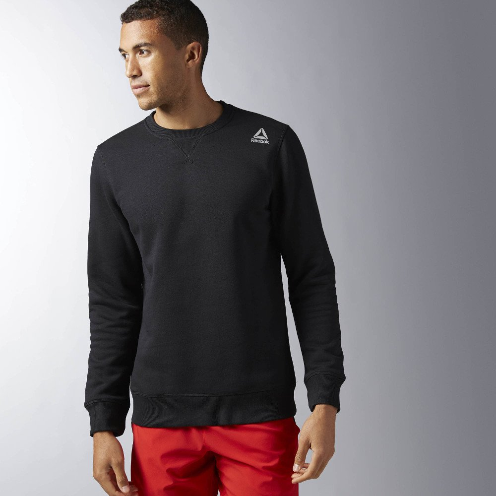 reebok elements fleece crew neck sweatshirt black