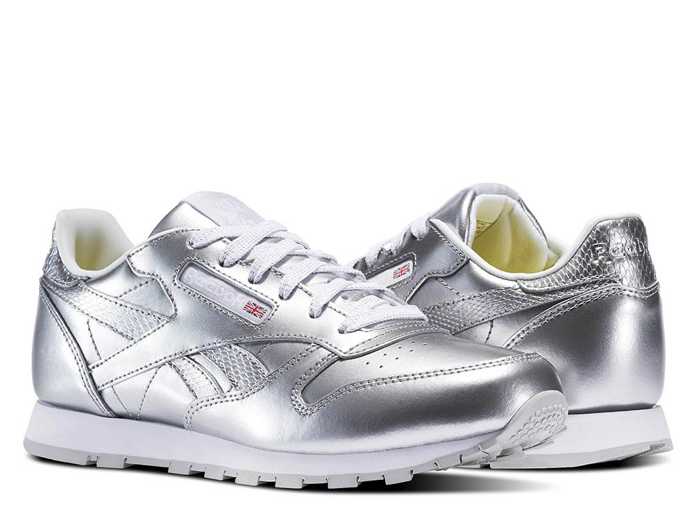 reebok classic leather metallic silver