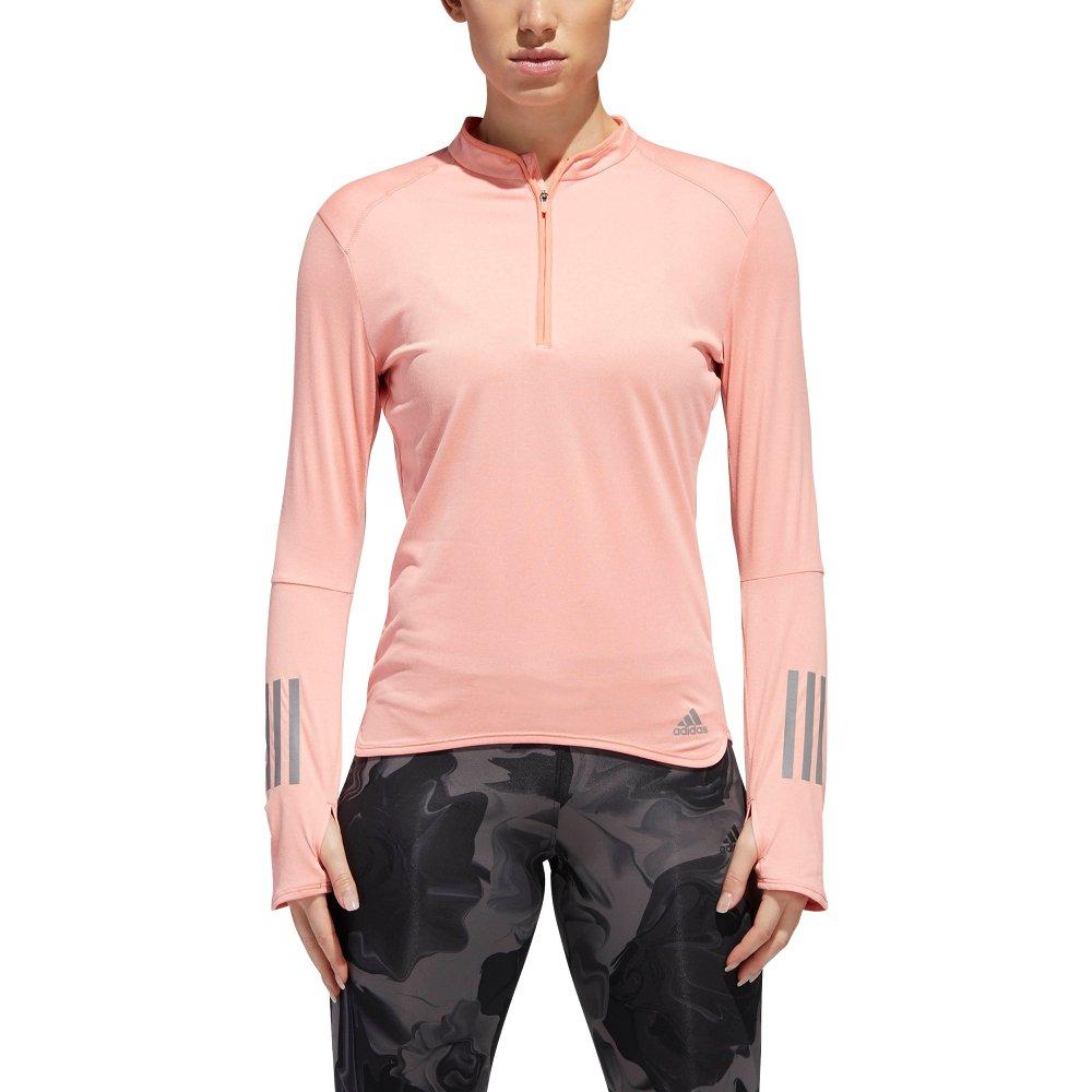 adidas response 1/2 zip tee w różowa