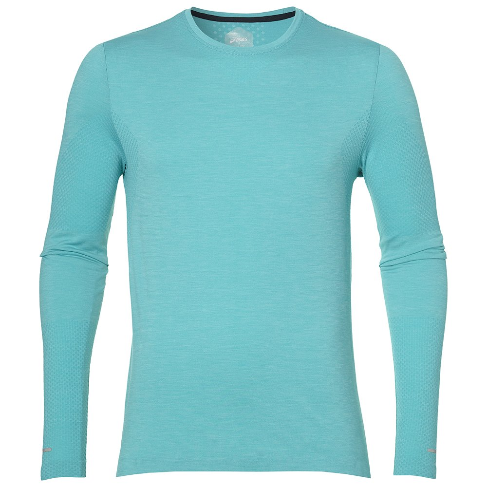 asics seamless long sleeve m turkusowa