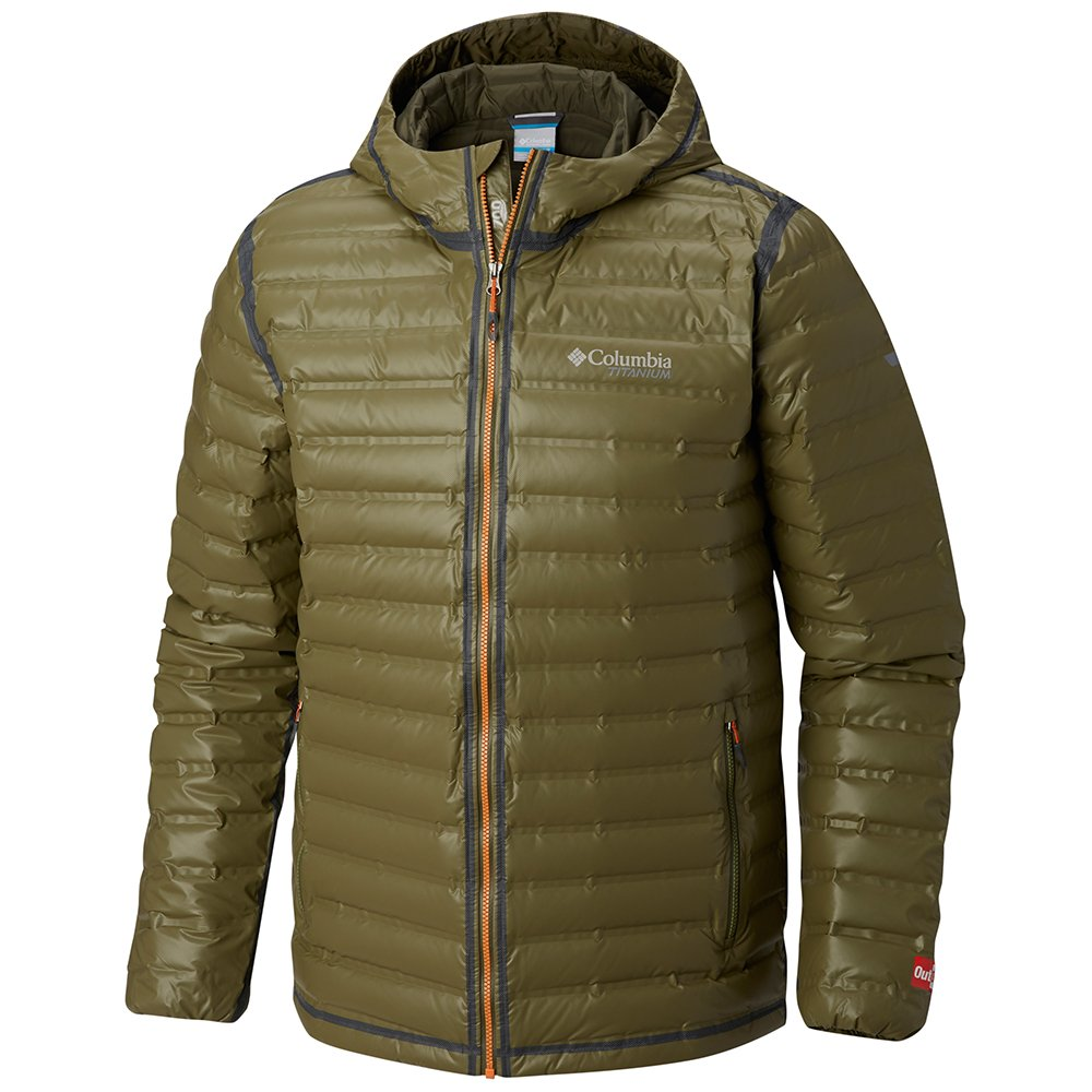 columbia titanium outdry ex gold waterproof down jacket m brązowo-zielona