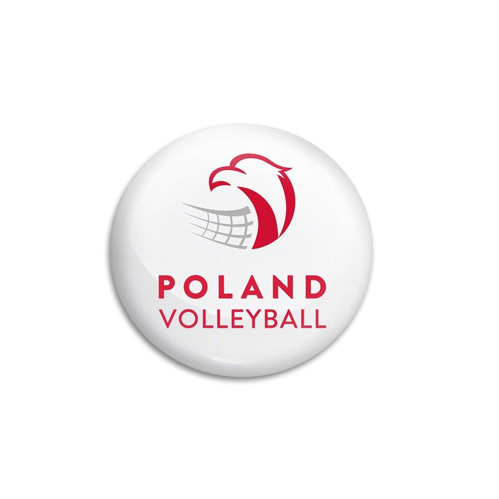 """pin biały z logotypem """"polska siatkówka"""""""