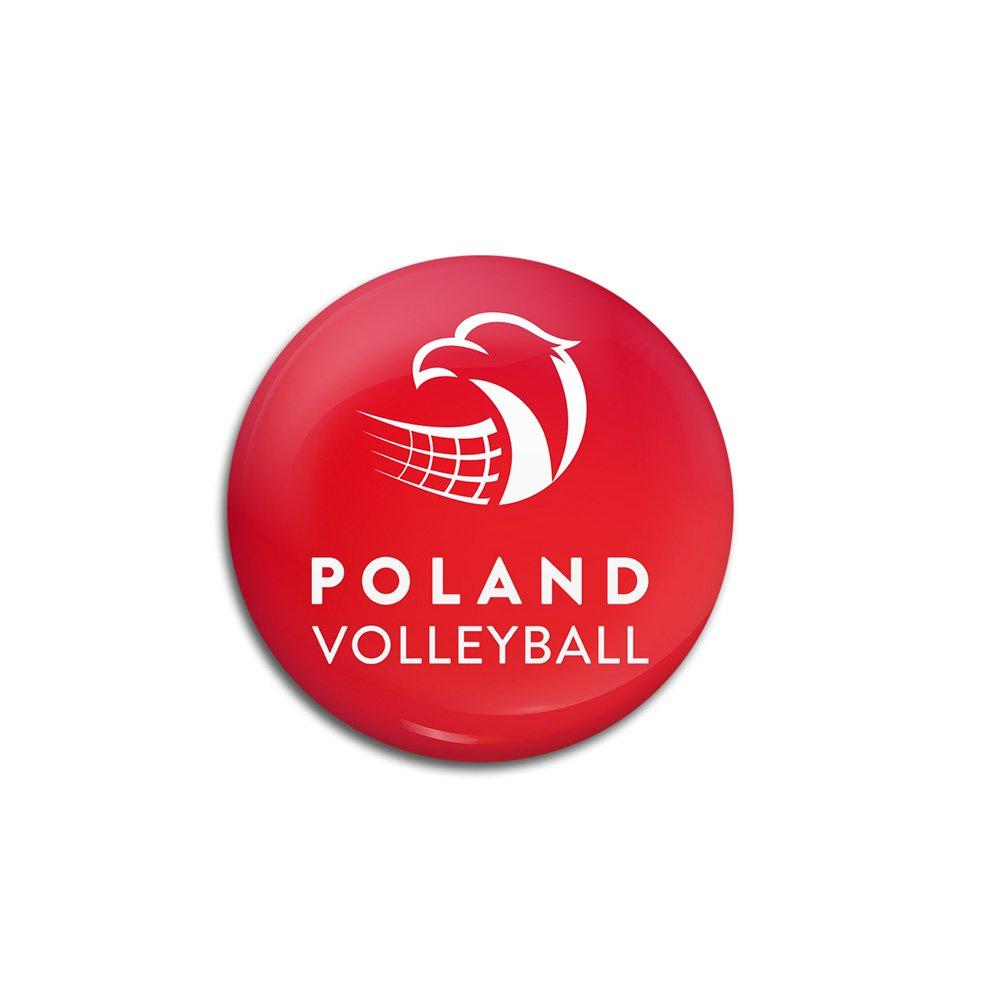 """pin czerwony z logotypem """"polska siatkówka"""""""