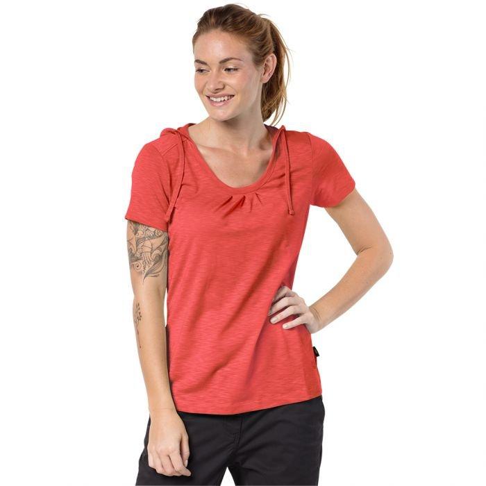 koszulka damska jack wolfskin travel hoody t czerwona