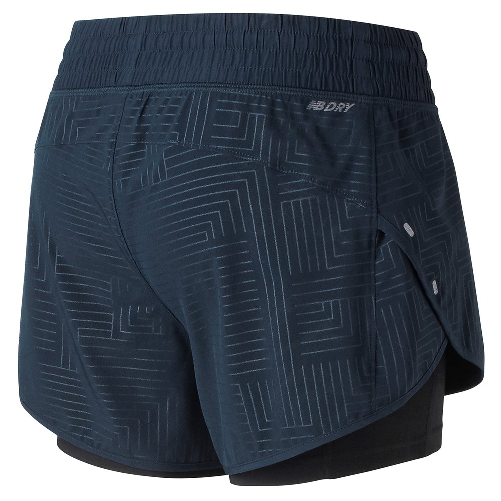 new balance 4 inch printed impact shorts w czarno-granatowe