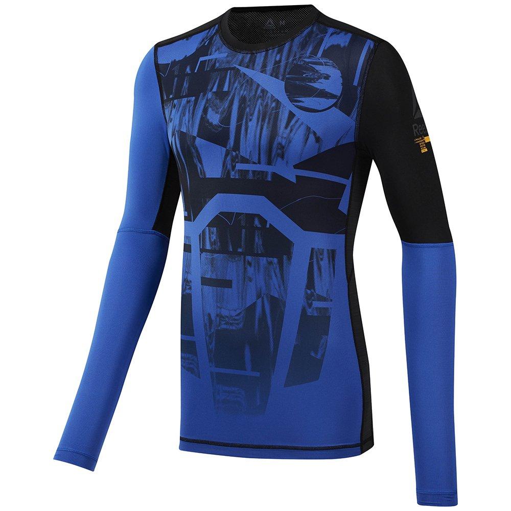 reebok long sleeve compression tee printed blue