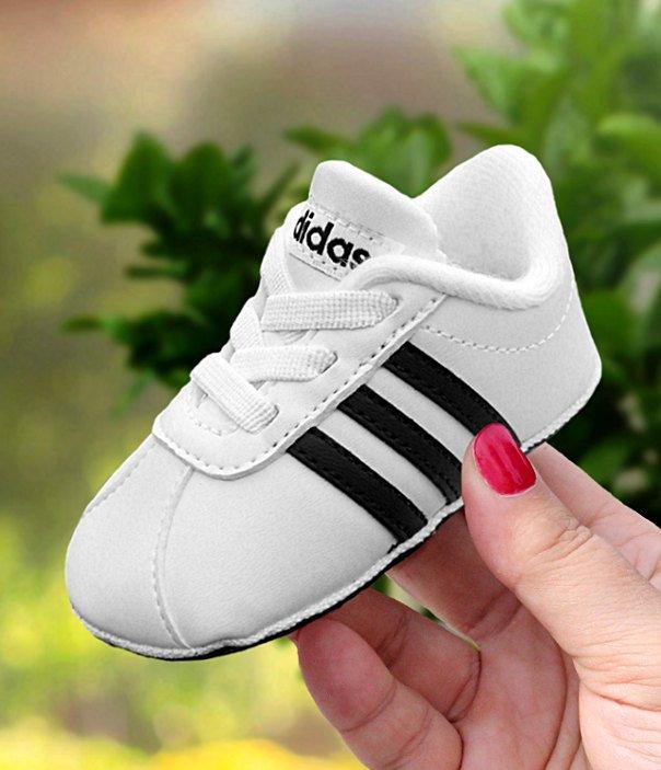 como comprar zapatillas de deporte para baratas Mitad de precio Buciki dla niemowląt adidas VL Court 2.0 Crib biało-czarne [F36605 ...