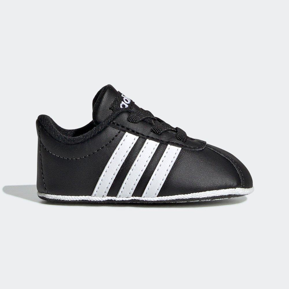 Buciki dla niemowląt adidas VL Court 2.0 Crib czarno białe
