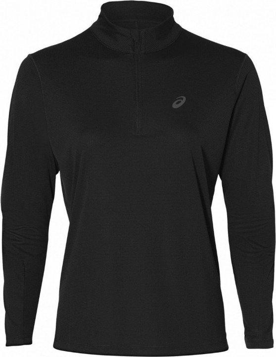 asics silver long sleeve 1/2 zip top performance black