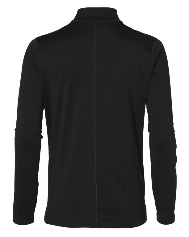 asics silver long sleeve 1/2 zip top performance black