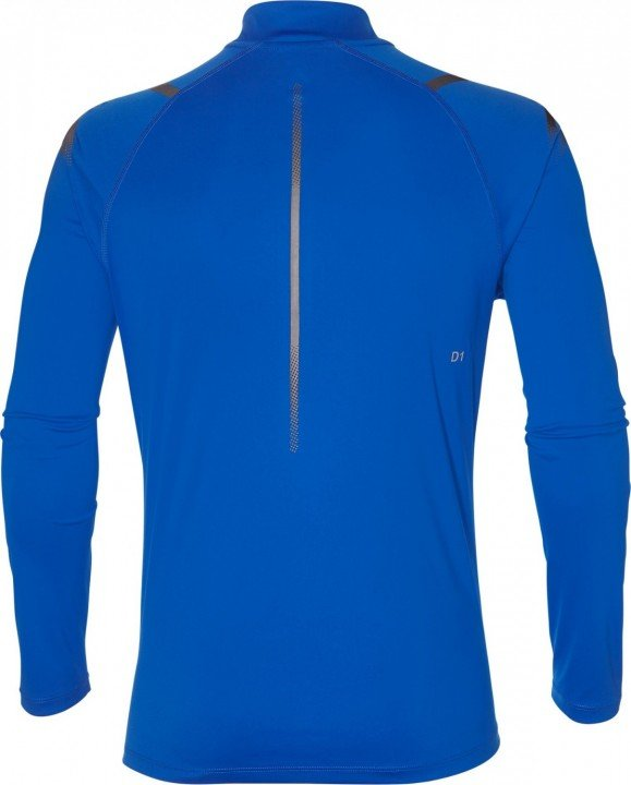 asics icon ls 1/2 zip top blue grey