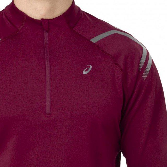 asics icon winter long sleeve 1/2 zip top cordovan