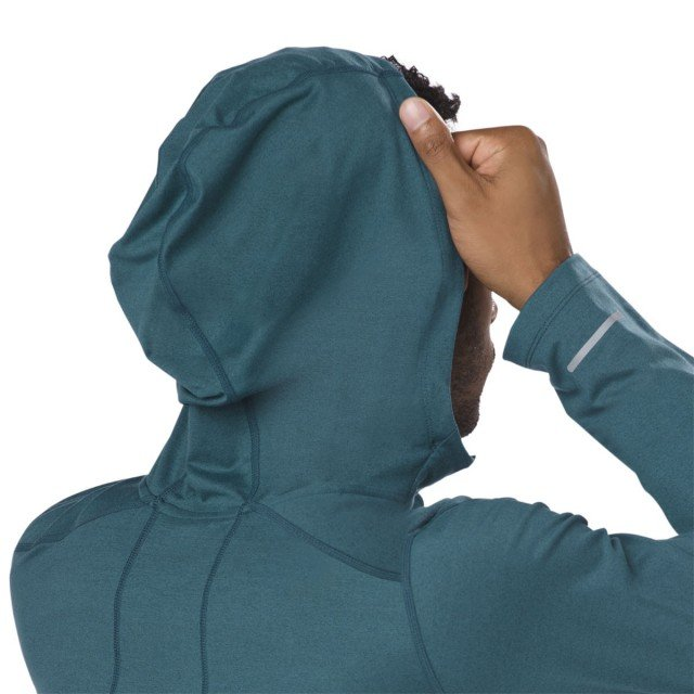 asics long sleeve hoodie dark green