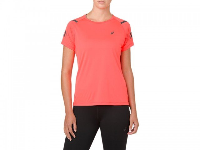 asics icon short sleeve top flash coral dark grey