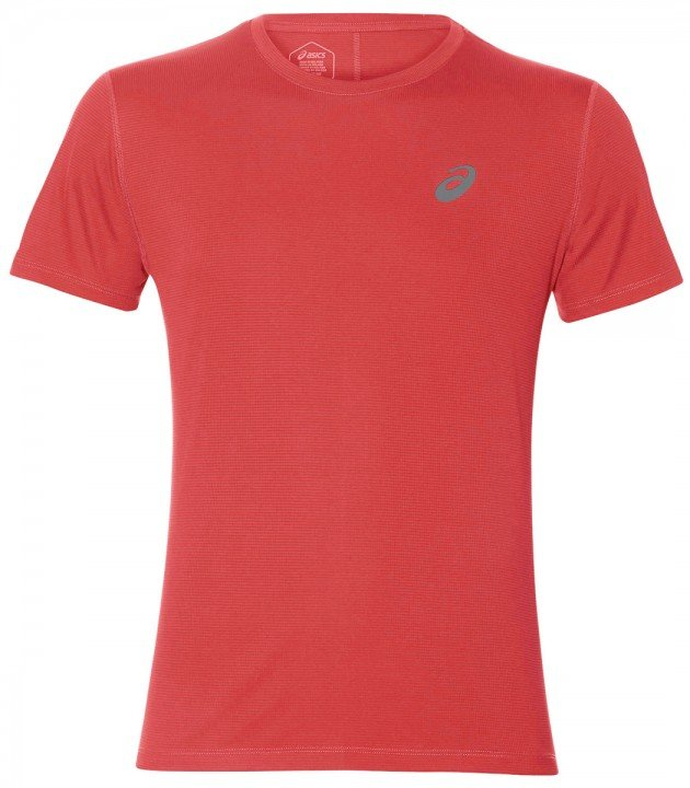 asics silver short sleeve top classic red