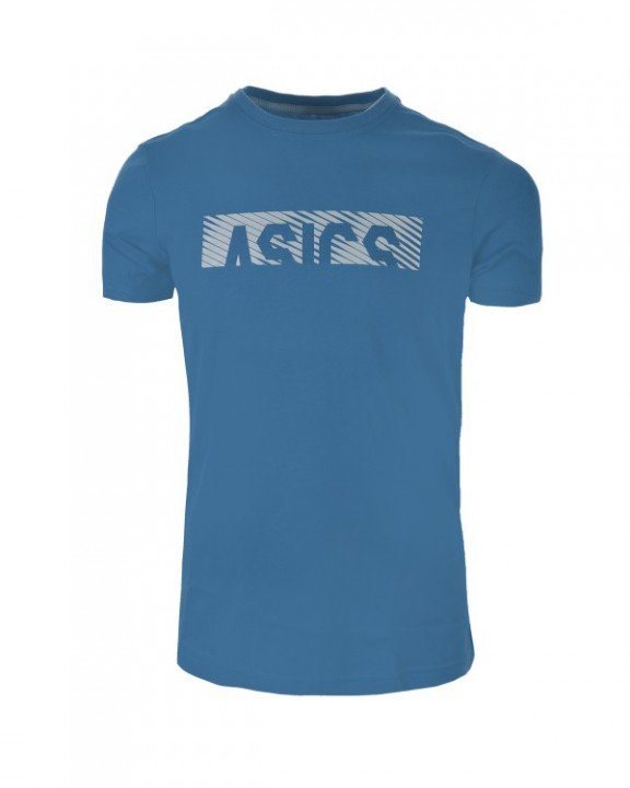 asics essential diagonal short sleeve top azure / mid grey