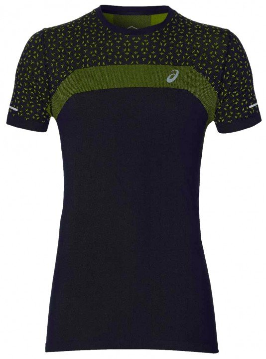 asics seamless short sleeve texture performance black