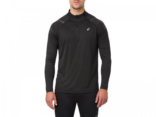 asics icon long sleeve 1/2 zip top black