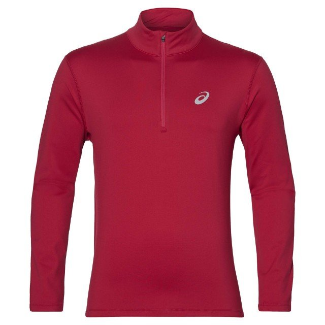 asics silver long sleeve 1/2 zip samba red