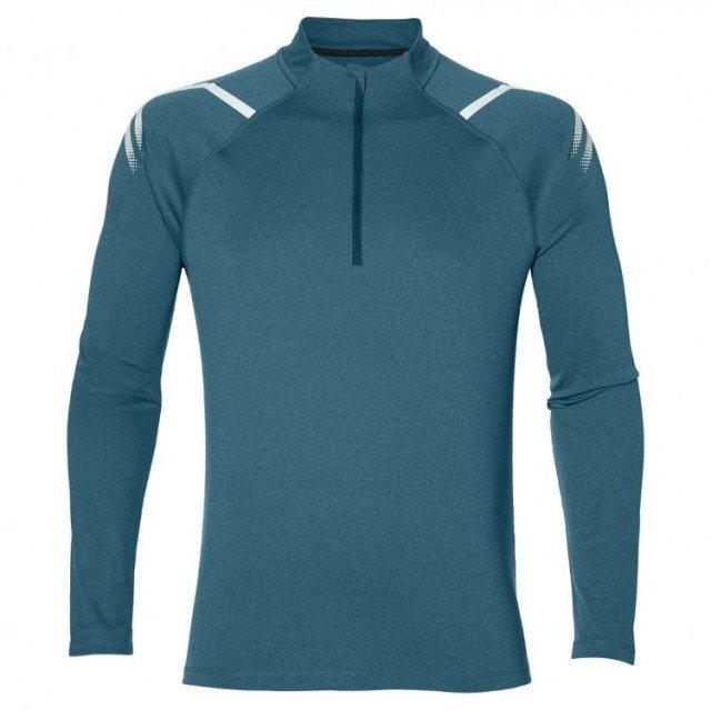 asics icon long sleeve 1/2 zip blue