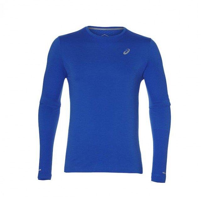 asics seamless long sleeve race blue heather
