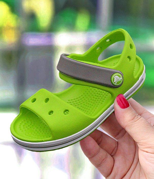świetna jakość informacje o wersji na rozmiar 7 Crocs Crocband Sandal Kids zielono-szare