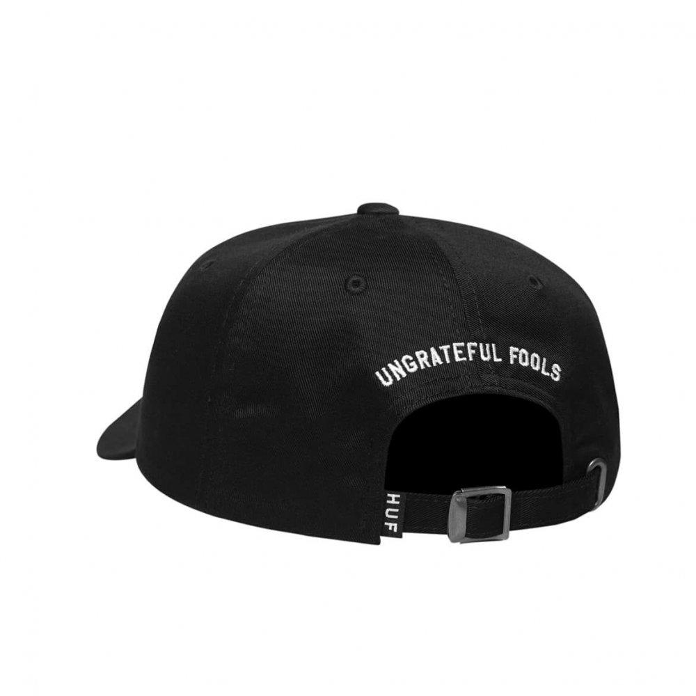 huf ungrateful fools curved visor hat (ht00321-blk)
