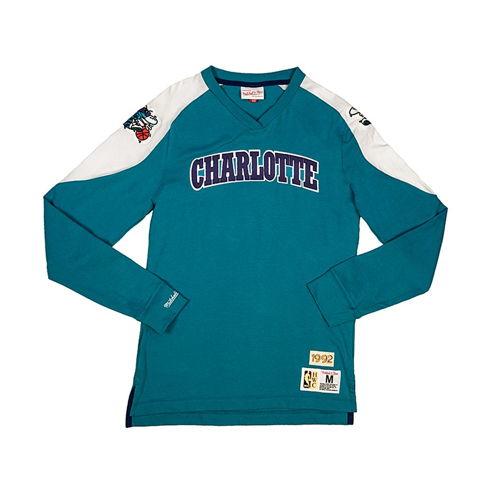 mitchell & ness team inspired longsleeve charlotte hornets (lnsldf18022-chohrbl)