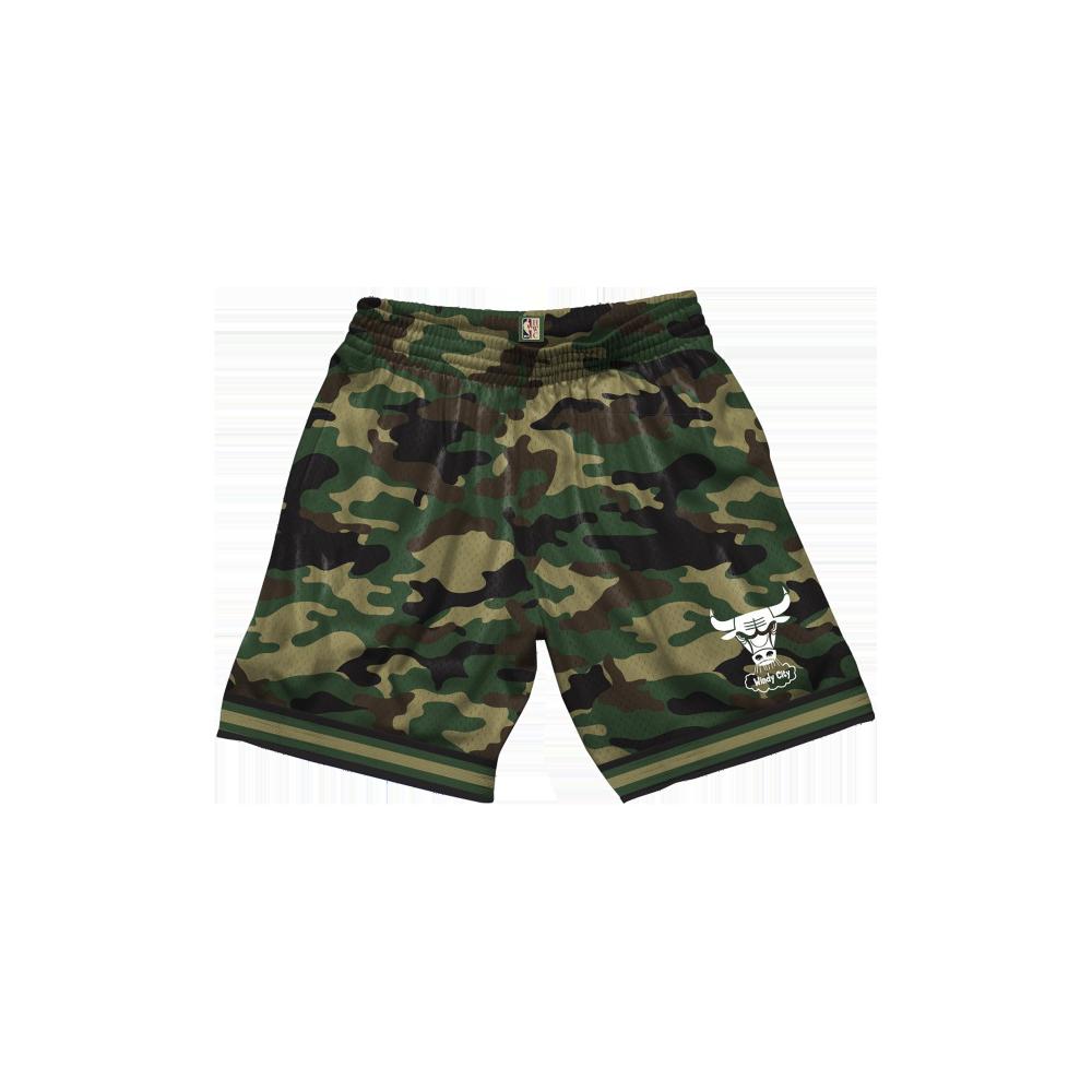 mitchell & ness camo mesh shorts chicago bulls