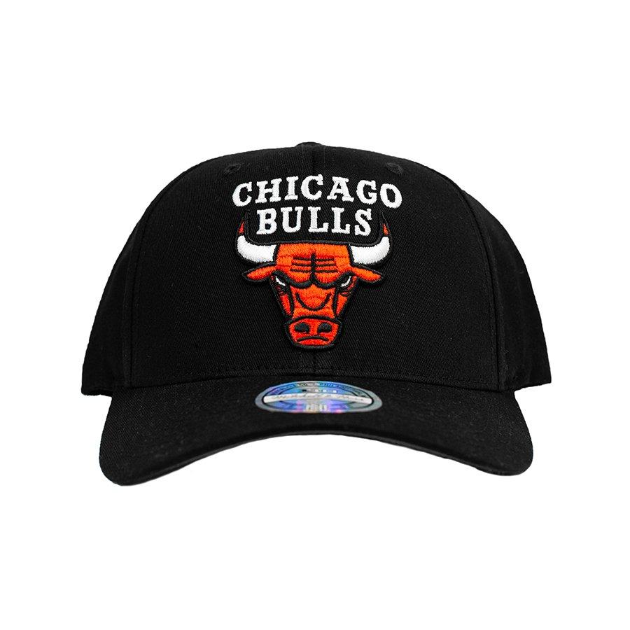 mitchell & ness nba chicago bulls team logo high crown pinch panel 110 snapback (intl537-chibul-blk)