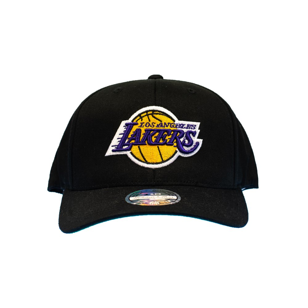 Mitchell & Ness NBA Los Angeles Lakers Team Logo High Crown Pinch Panel 110 Snapback (INTL537 LALAKE BLK)