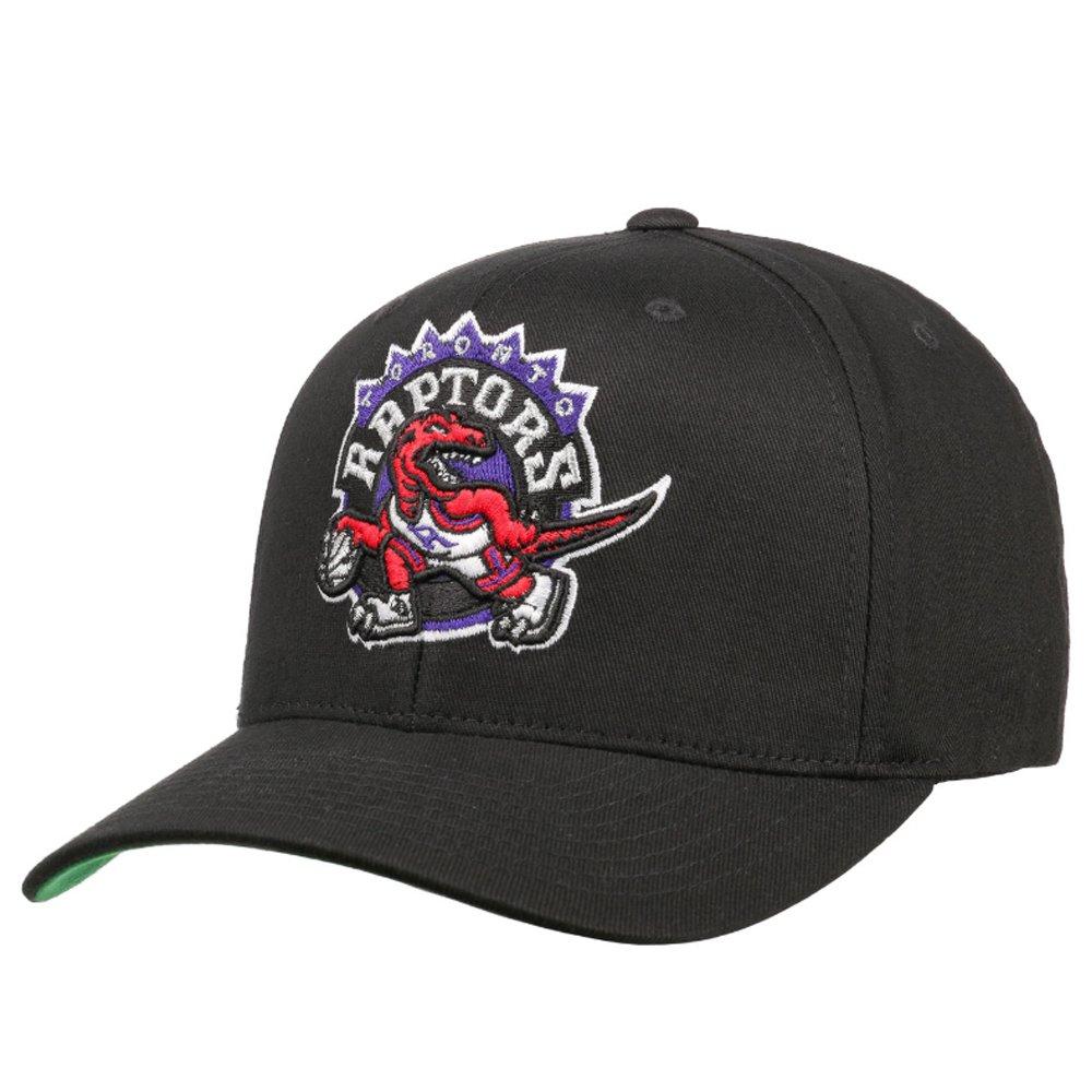 mitchell & ness nba toronto raptors team logo high crown pinch panel 110 snapback (intl537-torrap-blk)