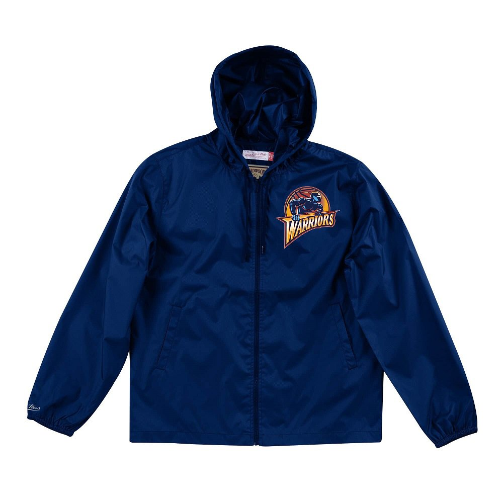 mitchell & ness nba golden state warriors team captain windbreaker jacket (flzpmg18045-gswnavy)