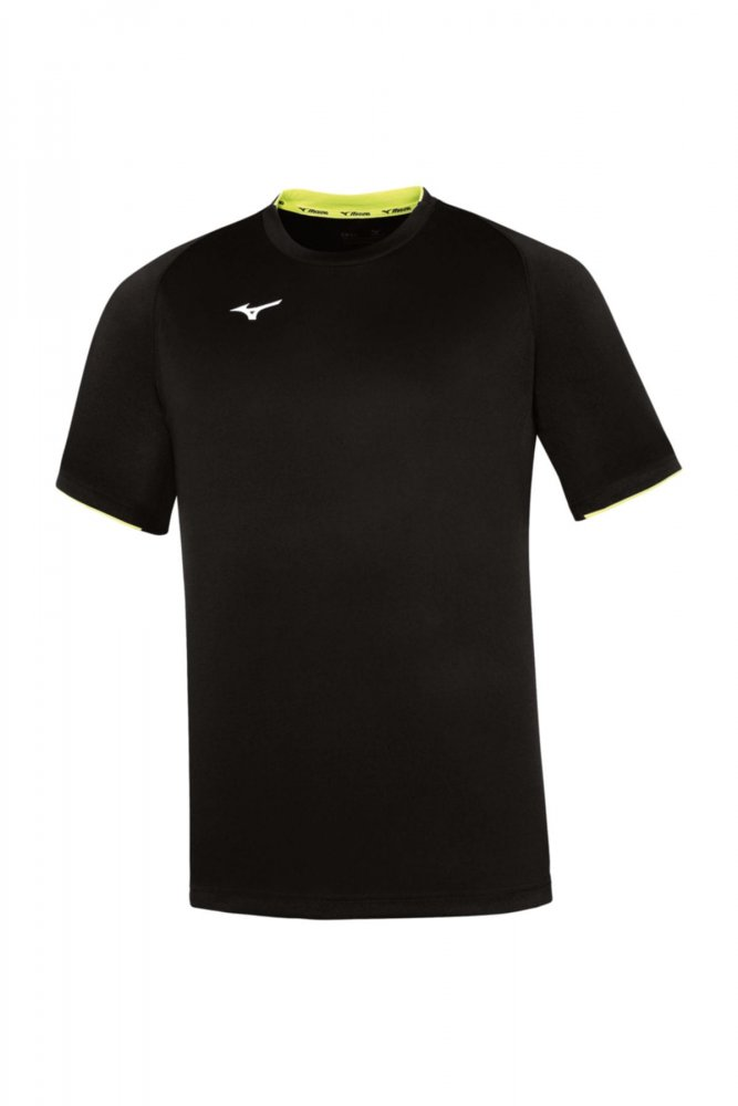 mizuno core short sleeve tee black / yellow fluo