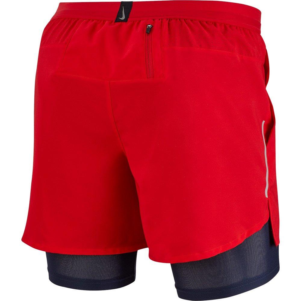 nike flex stride 5 inch 2-in-1 shorts m czarno-czerwone