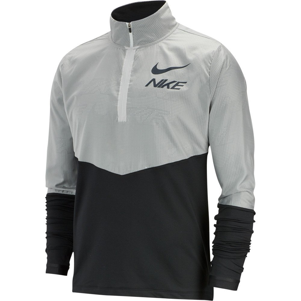 nike 1/2-zip graphic running top m szaro-czarna