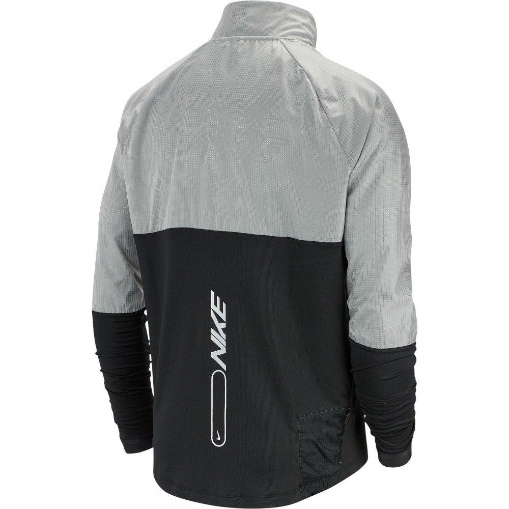 nike 1/2-zip graphic running top m szaro-czarna