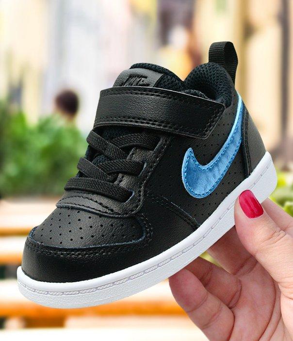 nike court borough low ep (tdv) czarno-niebieskie